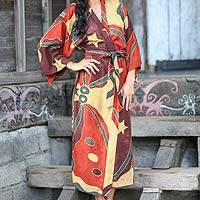 Women's batik robe, 'Coral Reefs' - Women's Batik Patterned Robe