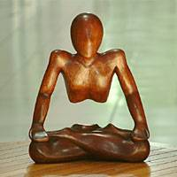 Wood sculpture, 'Yogi in Meditation' - Wood sculpture