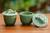 Ceramic condiment bowls, 'Lithe Gecko' (pair) - Indonesian Green Ceramic Condiment Bowls (Pair) (image 2) thumbail