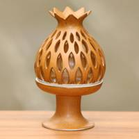 Ceramic tealight candleholder, 'Brown Pineapple' - Fair Trade Pineapple Theme Ceramic Candleholder