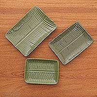 Ceramic plates, 'Green Garden' (set of 3) - Rectangular Ceramic Leaf Plates (Set of 3)