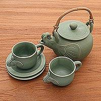 Ceramic tea set, 'Elephant Clan' (set for 2) - Ceramic Tea Set from Indonesia (Set for 2)