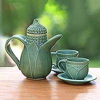 Ceramic tea set, 'Sweet Corn' (set for 2) - Ceramic tea set (Set for 2)