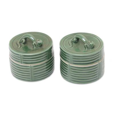 Ceramic jewelry boxes (Pair)