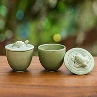 Ceramic salt and pepper cups, 'Swimming Turtles' - Hand Crafted Salt and Pepper Cups