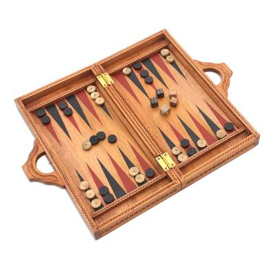 Folding Hand Carved Backgammon Set