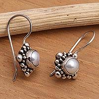 Pearl drop earrings, 'Moon Face' - Pearl Sterling Silver Drop Earrings