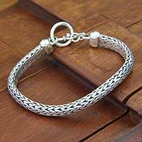 Men's sterling silver braided bracelet, 'All Night' - Men's Sterling Silver Woven Chain Bracelet