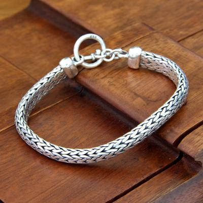 Men's sterling silver braided bracelet, 'All Night' - Men's Sterling Silver Woven Chain Bracelet