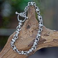 Men's sterling silver bracelet, 'Eight Motif' - Men's Sterling Silver Link Bracelet