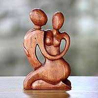 Wood sculpture, 'Beside Me' - Romantic Wood Sculpture