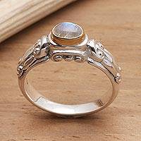 Gold accent rainbow moonstone solitaire ring, Swirls and Twirls