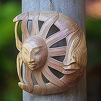 Wood mask, 'Day and Night' - Hand Carved Wood Mask