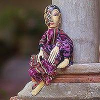 Carved wood display doll,