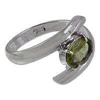 Peridot solitaire ring, 'Shimmering Fruit' - Spiral Silver Solitaire Ring with Peridot