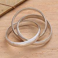 Sterling silver band ring, Three to One