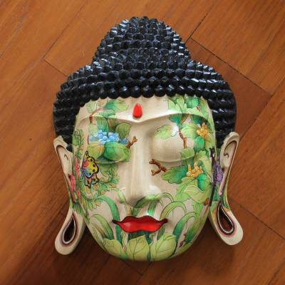 Wood mask, 'Delighted Buddha' - Wood mask
