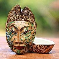 Wood jewelry box, 'Flower Man of Bali' - Wood jewelry box