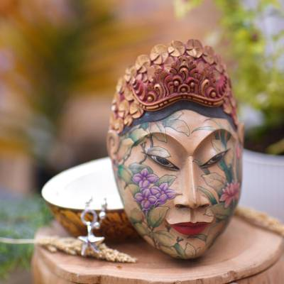 Wood jewelry box, 'Flower Woman of Bali' - Wood jewelry box