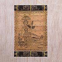 Palm leaf wall hanging, The Flying Goddess