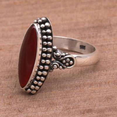 Carnelian ring, 'Fire and Courage' - Sterling Silver and Carnelian Ring