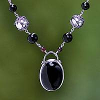 Onyx and pearl necklace, 'Duet' - Black Onyx, Pearl, Silver and Garnet Necklace