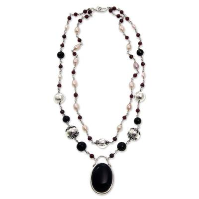 Pearl and Onyx Silver Pendant Necklace