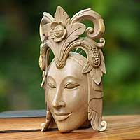 Wood mask, 'Crowned in Glory'
