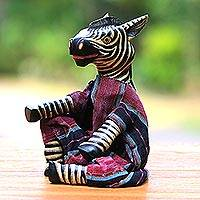 Wood display doll, 'Talking Zebra' - Hand Made Wood and Cotton Display Doll