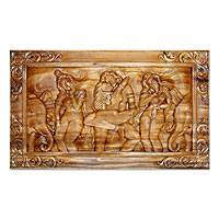 Wood relief panel, 'A Love Story' - Wood relief panel