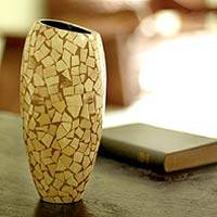 Coconut shell vase, 'Fragments of Nature' - Unique Coconut Shell Vase from Indonesia