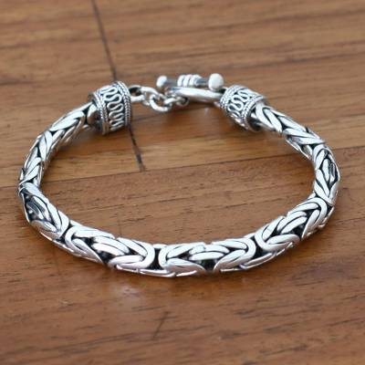 Mens sterling silver braided bracelet, Silver Dragon