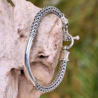 Men's sterling silver braided bracelet, 'Silver Classic' - Sterling Silver Chain Bracelet from Indonesia