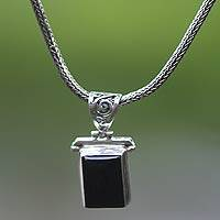 Onyx choker, 'Dream Guide' - Onyx Sterling Silver Pendant Necklace