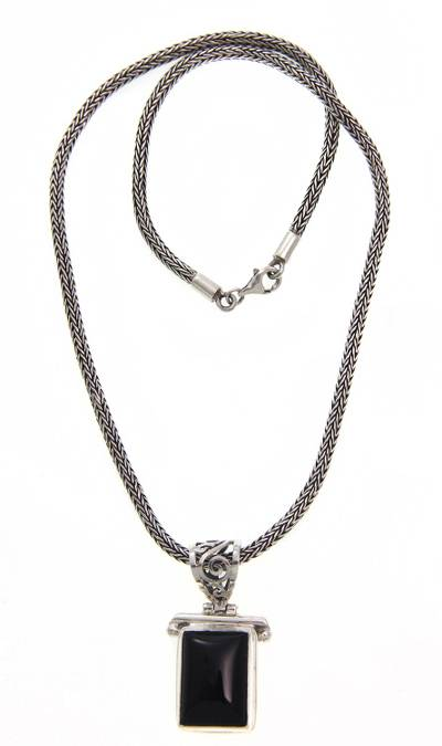 Onyx Sterling Silver Pendant Necklace