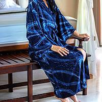 Women's batik robe, 'Sea of Shadows' - Bright Cobalt Women's Robe