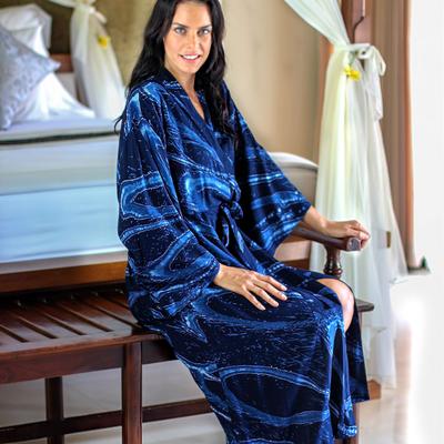 Women's batik robe, 'Sea of Shadows' - Women's Blue Batik Patterned Robe