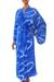 Women's batik robe, 'Sea of Sapphire' - Women's Batik Patterned Robe thumbail