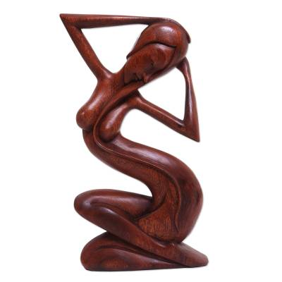Suar Wood Female Form Sculpture