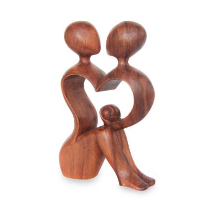 Wood sculpture, 'A Heart Shared by Two' - Romantic Wood Sculpture