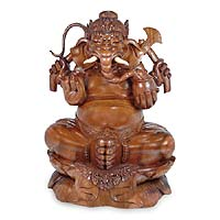 Wood statuette Ganesha Sacred Elephant Man Indonesia