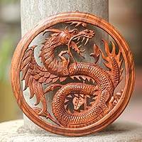 Wood wall panel Dragon with Lotus Bud Indonesia