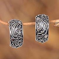 Sterling silver half hoop earrings, 'Prairie' - Sterling Silver Half Hoop Earrings from Indonesia