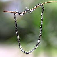 Sterling silver chain necklace, Cosmic Paths
