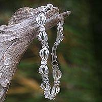 Sterling silver link bracelet, 'Wedding Ribbons' - Indonesian Sterling Silver Link Bracelet