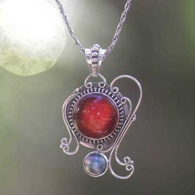 Carnelian and pearl pendant necklace, 'Eloquence' - Carnelian Sterling Silver Pendant Necklace