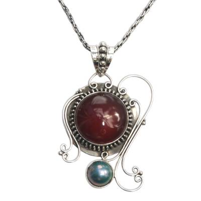 Carnelian Sterling Silver Pendant Necklace
