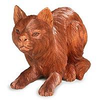 Wood statuette, 'Kitty Cat Hunts'