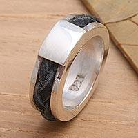 Leather and silver band ring, 'Buckskin' - Sterling Silver and Leather Band Ring from Indonesia