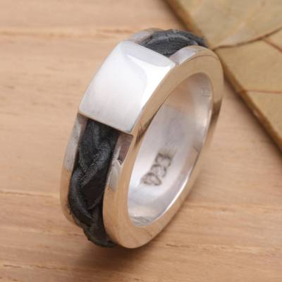 Sterling Silver and Leather Band Ring from Indonesia